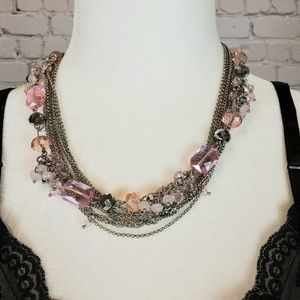 Silver Chain and Stone Layered Necklace